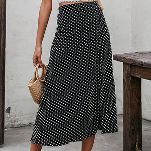Women Polka Dot Black Long Skirts Female High Waist Slit Asymmetric A Line Skirts Lady Casual Beach Holiday Skirt
