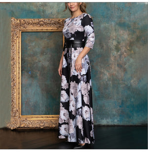 Women Elegant O Neck Long Dress Vintage Floral Printing Autumn Fashion Casual Maxi Dress NO BELT Boho Party Vestidos