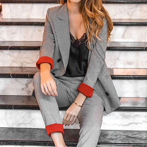 Checkered Blazer Women Office Lady Checkered Suit High Fashion Female Suit Plus Size Blazer Set