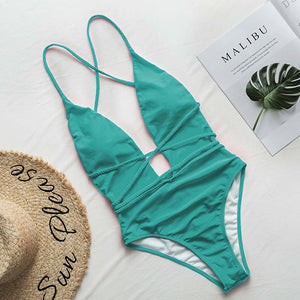Women Halter Neon Bikini Deep V-Neck Bathing Suit Women Monokini String Swimsuit One Piece Bodysuits High Cut Swimwear