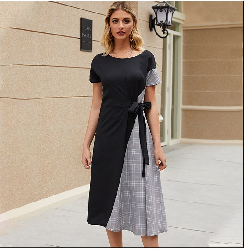 Fashion Women Patchwork Casual Dress Summer Autumn Short Plaid Vestidos De Women O-neck Midi Dresses