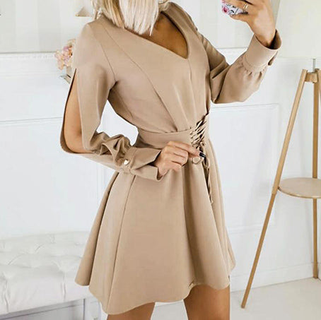 Women Elegant V Neck Short Dress Female Fashion Split Long Sleeve High Waist Mini Dress Ladies Office Vestidos Girdle