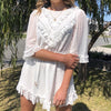 Women White Polka Dot Lace Short Party Dress Backless Ruffle Holiday Vestidos Ladies Casual Beach Dress