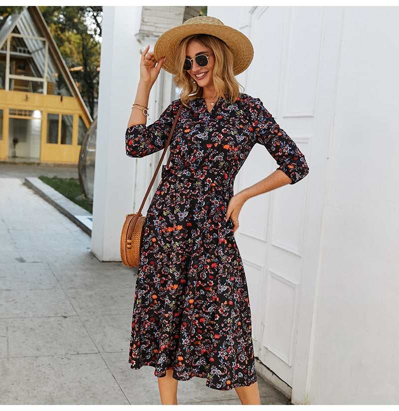 Women Casual Dress Women V Neck Sleeve A Line Mid-Calf Print Dress Female Elegant Waist Summer Midi Dress