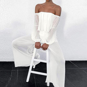 Sexy Wide Leg Ruffles Jumpsuits Women Off Shoulder Female Jumpsuit Rompers Solid Beach Casual Jumpsuit