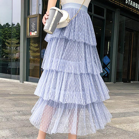 Women Sweet Mesh Tutu Skirt Fashion Polka Dot Elastic Waist Cake Skirts Ladies Pink Tiered Tulle Pleated Skirts Female