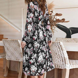Elegant Floral Long Dress Women Casual Party Ruffles Dresses Robe Femme Vintage Pleated Dress Vestidos