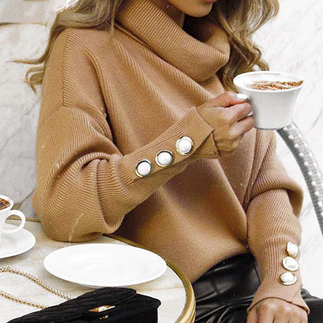 Women Solid Color Sweatshirt Turtleneck Long Sleeve Pullovers Female Fashion Button Jumpers Tops