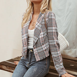 Women Multicolor Plaid Short Blazer Long Sleeve Blazer Jacket Mujer Business Chic Coat Outwear