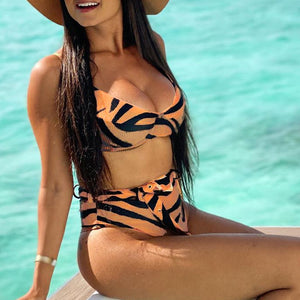 Women Leopard Swimsuit Female Push Up Bikini Mujer Patchwork Bathing Suit See Through Swimwear Summer Bathers Biquini