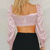 Sexy Pink Satin Crops Tops Women Twist Button Vintage Blouse Shirts Short Shirt Retro Casual Club Blusas Mujer