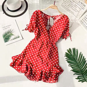 Backless Sexy Ruffles Vintage Polka Dot Dresses Women Retro Robe Ruffles Mini Dress Beach Summer Puff Dress Vestido