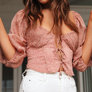 Boho Beach Club Sexy Short Shirts Women Lace Up Ruffles Vintage Tops Shirts Casual Floral Ladies Shirts Mujer