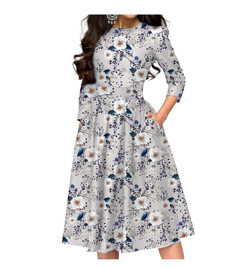 Women A-line Midi Dress Elegant Floral Printed Retro A-line Vestidos De Autumn Fashion Casual Dresses