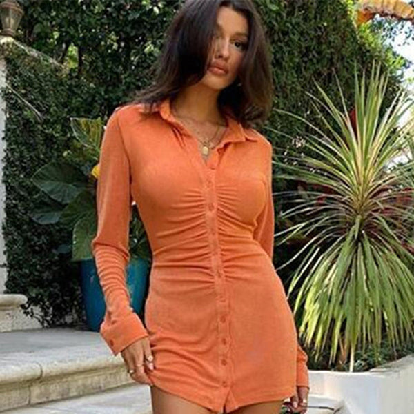 Ruched Long Sleeve Bodycon Dress Women Turn-Down Collar Sexy Mini Dress Female Button Slim Party