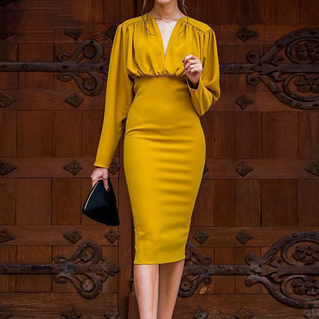 Women Fashion V Neck Party Dress Long Sleeve Bodycon Pencil Dress Lady Slim Fit Midi Dress Plus Size