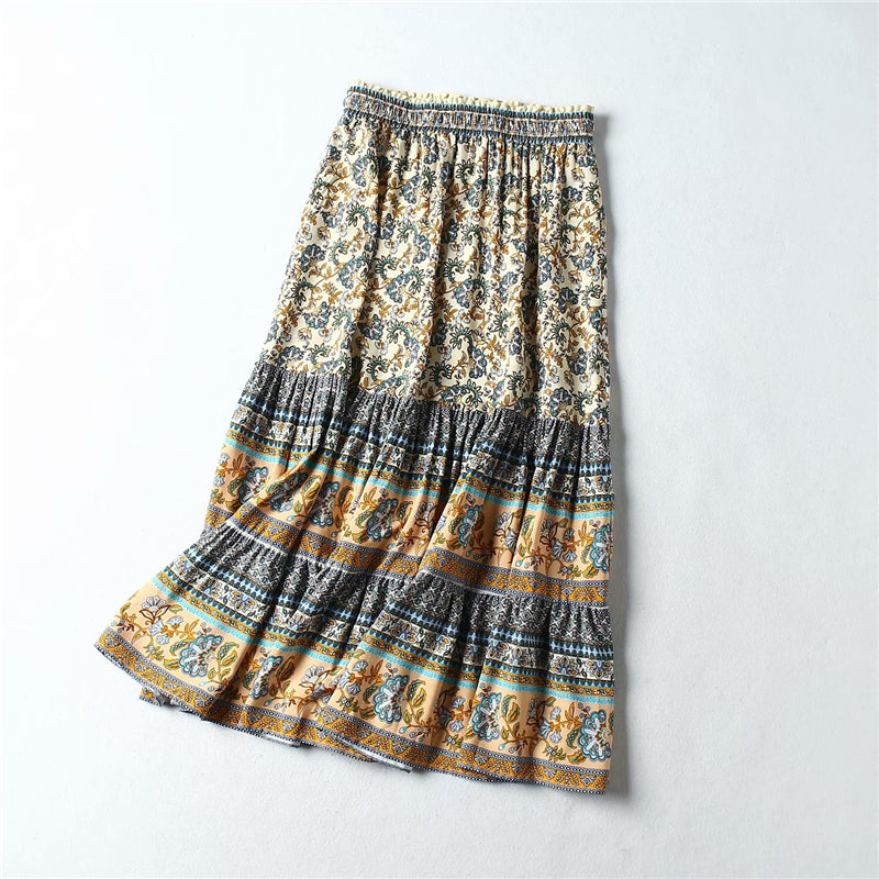 Vintage Chic Hippie Women  Floral Peacock Printed  High Elastic Waist Beach Bohemian Skirt Ladies Midi  A-Line  Boho Skirt