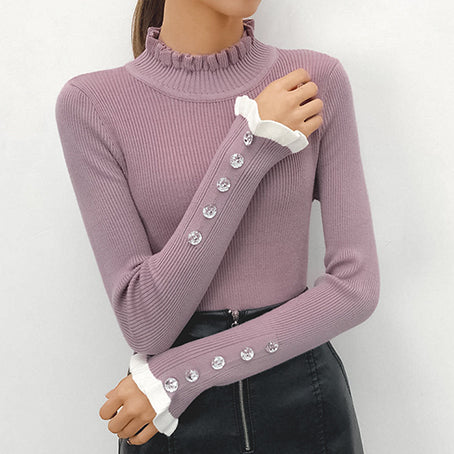 Ruffle Harajuku Sweater Women Knitted Turtle White Sweater Slim Kroean Ladies Sweater Mujer Pullover