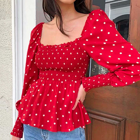 Ruffles Elegant Vintage Blusas Women Party Polka Dots Red Blouse Shirts Square Collar Femme Retro Twist Blouses
