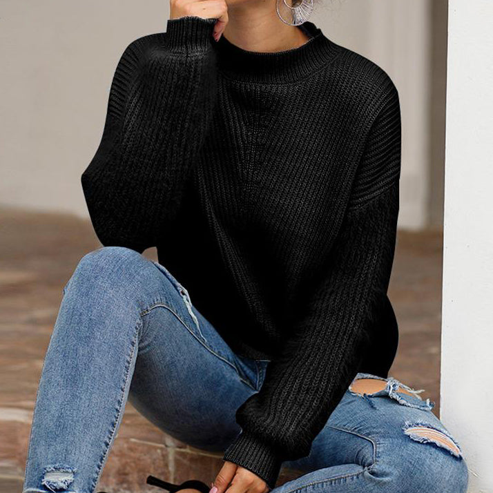 Women Fashion Pullover Solid Color Knit Tops Sweater Femme Shaggy Lantern Sleeve Women's Jumpers Plus Size