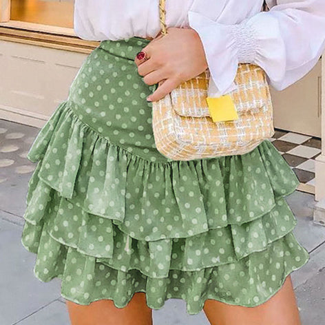 Flounce Ruffles Summer Skirts Women Green Beach Polka Dot Short Skirts Vintage High Waist Casual Skirt