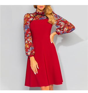 New Vintage Patchwork A Line Dress Elegant Turtleneck Retro Long Sleeve Party Vestidos Autumn Women Casual Dress