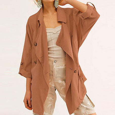 Women Trench Coat Fashion Drawstring Turn Down Collar Female Coats Harajuku Trench