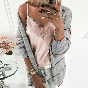 Women Casual Stich Sweaters Cardigan Plus Size Ladies Knitted Cardigan