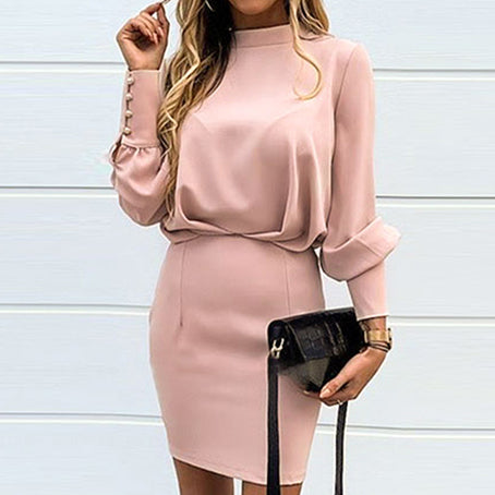 Pink Solid Sexy Club Dress Women Backless Solid Turtle Bodycon Dresses Long Sleeve Party Ladies Dress Vestidos