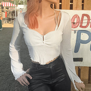 Sexy Beach Crop Tops Blouses Women Vintage White Ruffles Blouse Shirt Transparent Mujer Blusas