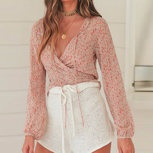 Casual See Through Women Crop Tops and Blouse Female Chic Lace up Lantern Sleeve Short Shirt Blusa