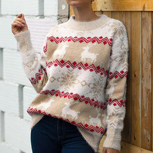 Women Christmas Deer Jumpers Sweater Female Warm Fashion Pullovers Ladies Plus Size Knitted Tops