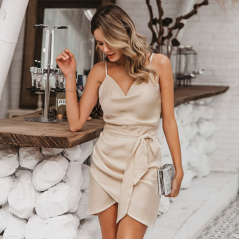 Women Satin Spaghetti Strap Spring Summer Bow Wrap Short Ladies Dress Vestidos