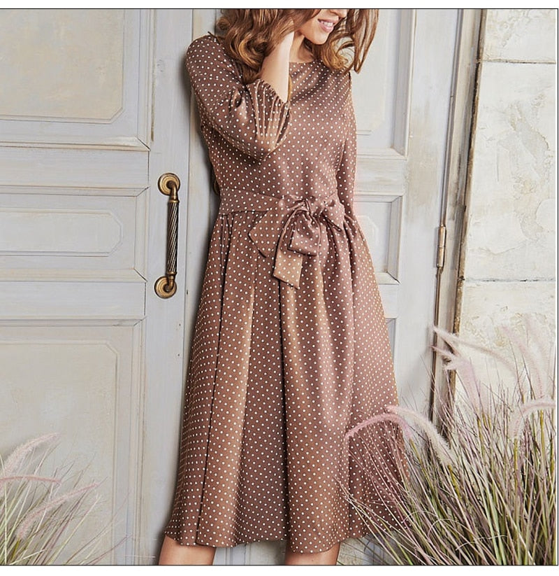 Women Autumn Sleeve O Neck Casual Dress Female Elegant Women Midi Vestidos