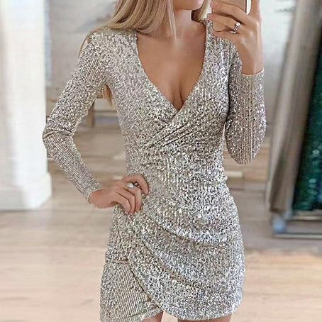 Women Fashion Sequin Club Short Dress Long Sleeve V Neck Bodycon Dress Ladies Shine Party Mini Dress Vestidos