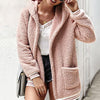 Women Shaggy Teddy Jacket with Hood Female Warm Pockets Faux Fur Coat Long Sleeve Parkas Large Size
