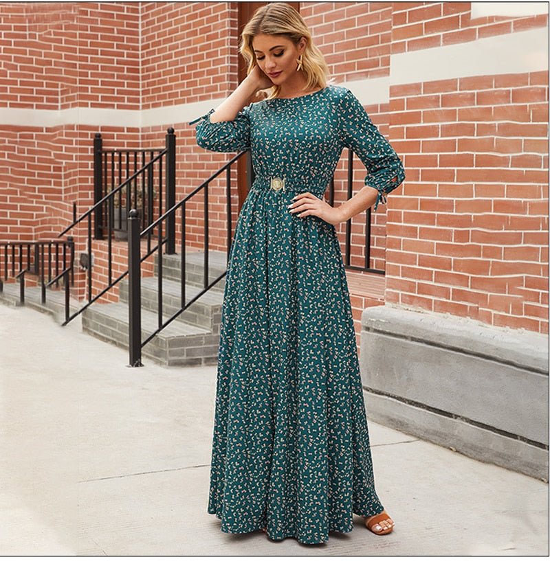 Women Floral Printed Long Dresses Elegant Sleeve Boho Maxi Vestidos Femme Casual Bohemion Women Dress