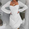 Women Vintage Square Long Sleeve White Short Dress Female Sexy Backless Lace up Party Dress Large Size