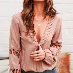 Hollow Out Sexy Blouse Women Casual Lantern Sleeve Shirts Loose Plus Size Ladies Blusa Mujer