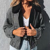 Women  Plaid Short Jackets And Coats Female Faux Woolen Zip Jackets Ladies Pockets Biker Jackets Outerwears
