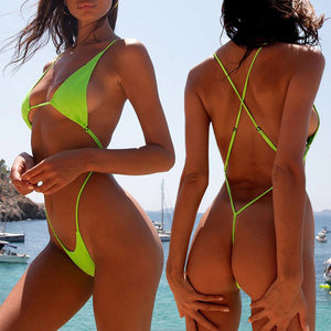 Women Extreme Bodysuits One-Piece Swimsuit Female String Bikinis Triangle Swimwear Bathing Suit Micro Bikini