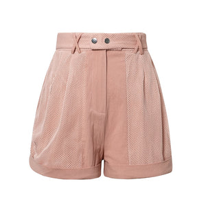 Women Shorts Pink Pockets Shorts High Fashion Casual Cotton Grid Patchwork Solid Shorts