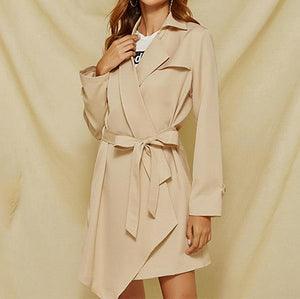 Fashion Asymmetrical Trench Coats Women Turn Down Collar Long Trench Coats Ladies Elegant Sashes Outerwears