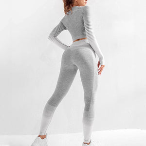 Women Yoga Set Long Sleeve Top High Waist  Sport Leggings Gym Clothes  Sport Suit Short Gym Suit Fitness Sets for Women