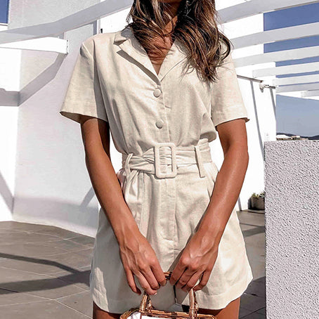 Button Belt Tie Plusysuits Romper Women Causal Linen Beach Playsuits Romper White Beach Short Jumpsuit Romper