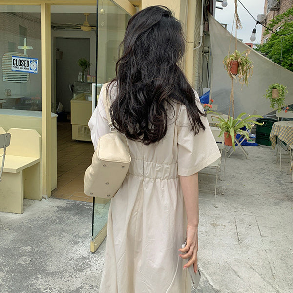 Solid Color Dress Women's New Round Neck Folds Elastic Waist Flare Short Sleeve Mid-calf Dresses Female