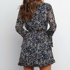 Chiffon Wrap Vintage Dress Women Floral Party Elegant Short Ladies Dress Long Sleeve Dresses Vestidos