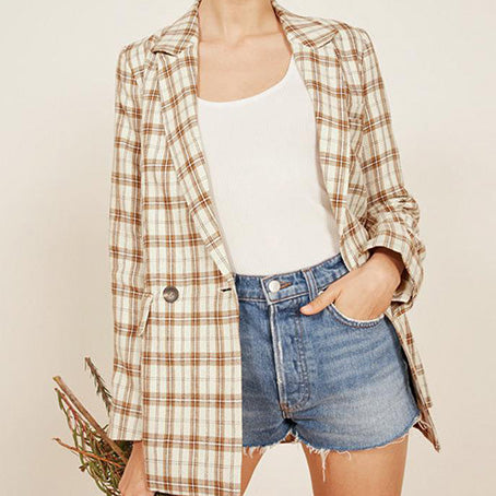 Women Fashion Plaid Blazer Female Long Sleeve Blazer Jackets Ladies Elegant Jackets Coats