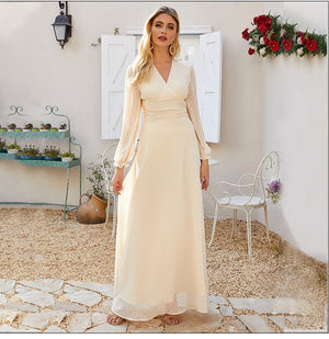 Women Chiffon Dress Autumn Fashion Bohemian Long Dress Sexy V-neck Maxi Party Vestidos