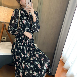 Women's Long Sleeve Floral Chiffon Dress With Lining Spring Autumn Bow Single Breasted Pleated Bottoming Dresses Female
